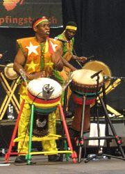 Mamady Keita uses djembe stands