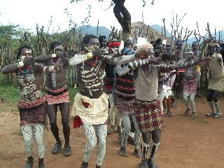 Ritual dance by the bana tribe in ethiopia